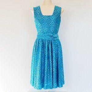 Vintage Silver & Blue Fit & Flare Dress (S)